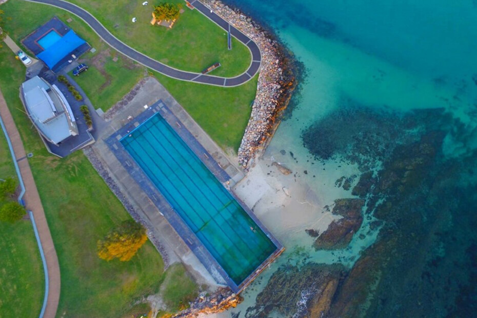 Aerial photo of Huskisson Sea Pool
